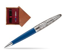 Długopis Waterman Carene Contemporary Blue Obssesion CT w pudełku drewnianym Mahoń Single Bordo