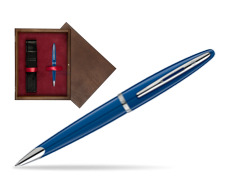 Długopis Waterman Carene Blue Obssesion CT w pudełku drewnianym Wenge Single Bordo