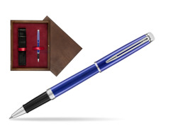 Pióro kulkowe Waterman Hémisphère Bright Blue  w pudełku drewnianym Wenge Single Bordo