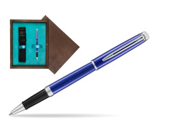 Pióro kulkowe Waterman Hémisphère Bright Blue  w pudełku drewnianym Wenge Single Turkus